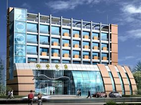 现代风大型公共建筑新华书店设计模型