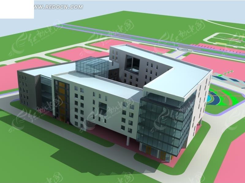 现代学校公共建筑3d效果图