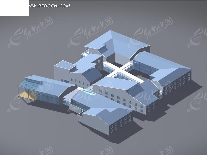 现代创意组合建筑3d效果图