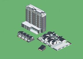 现代风公共建筑办公楼住宅区设计模型