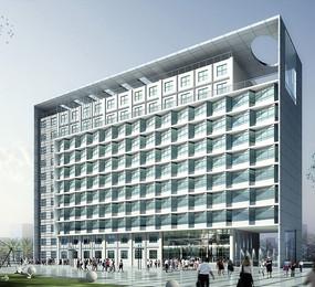 现代商务写字楼建筑3d效果图