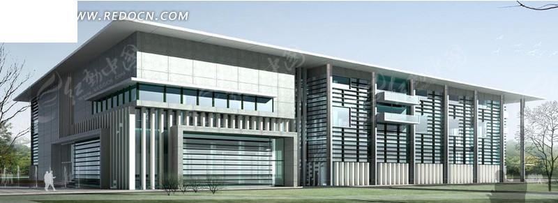 现代厂房式建筑3d效果图图片