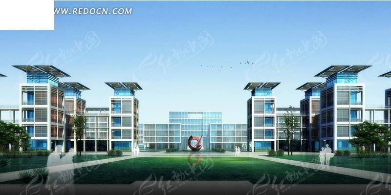 简约风格大型公共建筑工业园设计模型