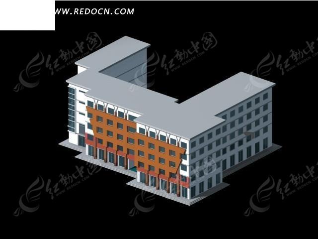 现代办公大楼公共建筑3d效果图