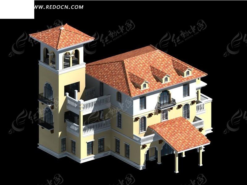 别墅建筑3d效果图