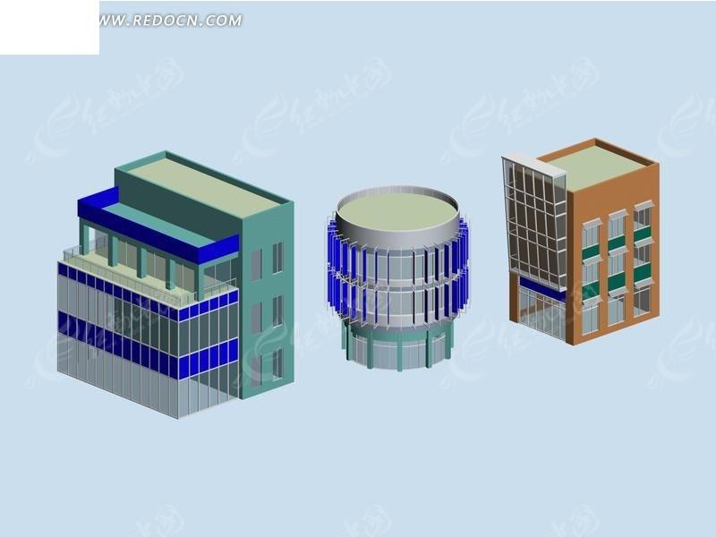 圆形组合建筑3d效果图