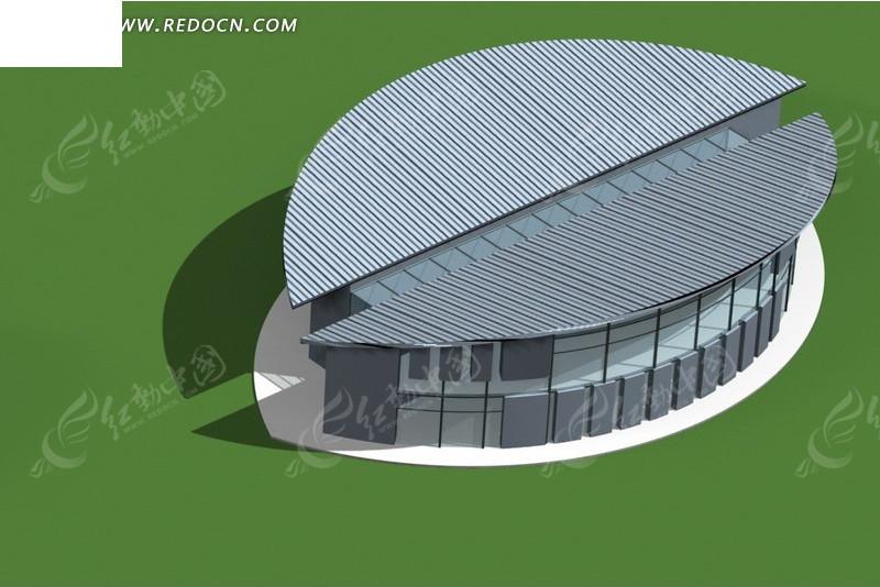 对称半圆形建筑3d效果图