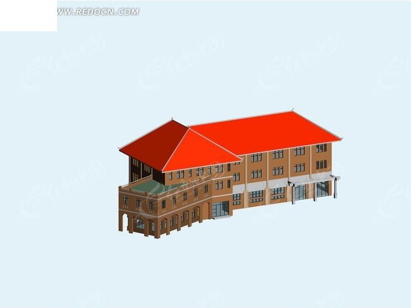 现代中式传统建筑3d效果图
