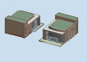 两栋简约风格的公共建筑写字楼模型