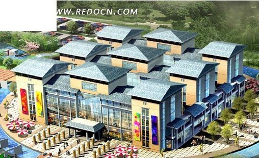 欧式商业建筑群3d模型设计