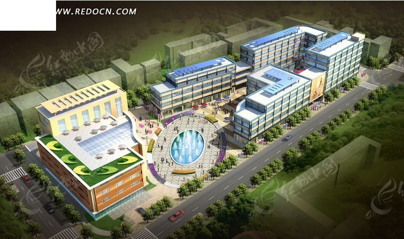 现代商业建筑群鸟瞰效果图设计高清图片