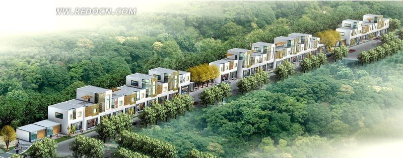 现代商业街建筑群鸟瞰效果图设计高清图片