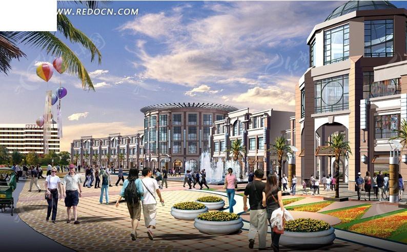 欧式商业步行街建筑群日景效果图设计