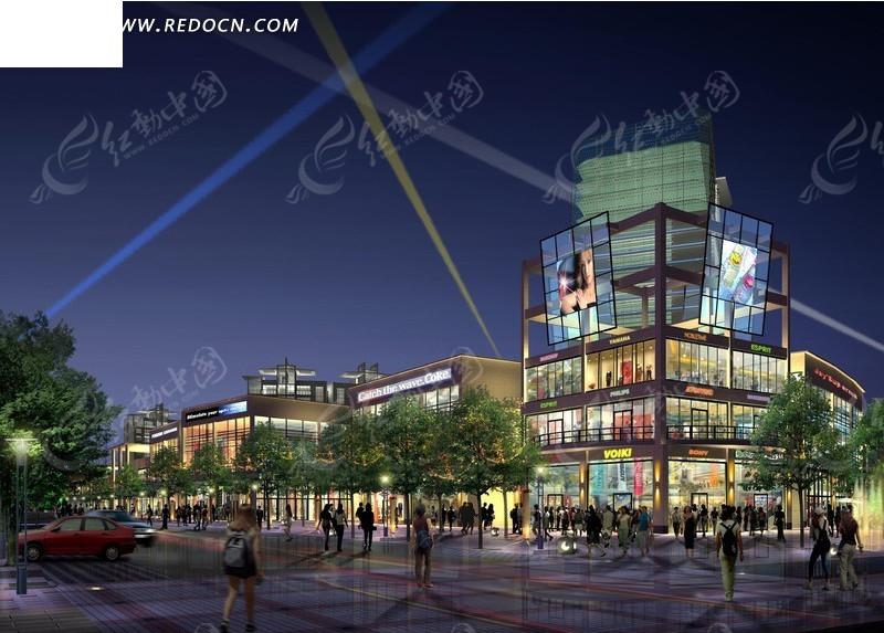 商业步行街夜景效果图设计