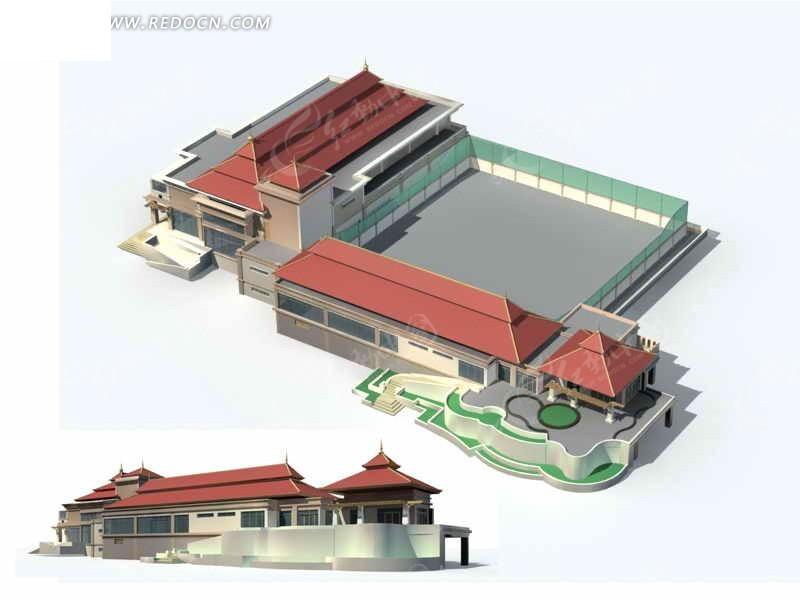 仿古多层商业中心建筑群3d模型