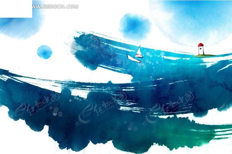 笔刷涂鸦背景上的手绘灯塔与帆船
