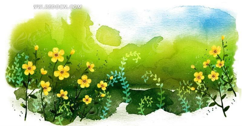 绿色涂鸦背景上的手绘黄色五瓣花