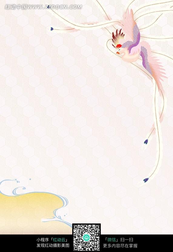 凤凰图案的淡粉色背景图图片 竖