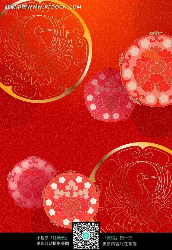 红色背景带传统圆形花纹和飞鸟图案背景素材图片