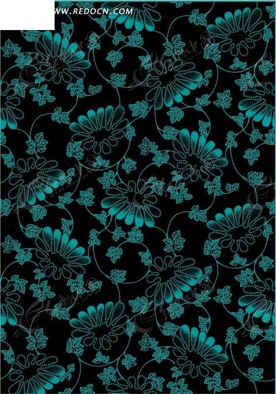 黑底色背景上的蓝绿色花纹