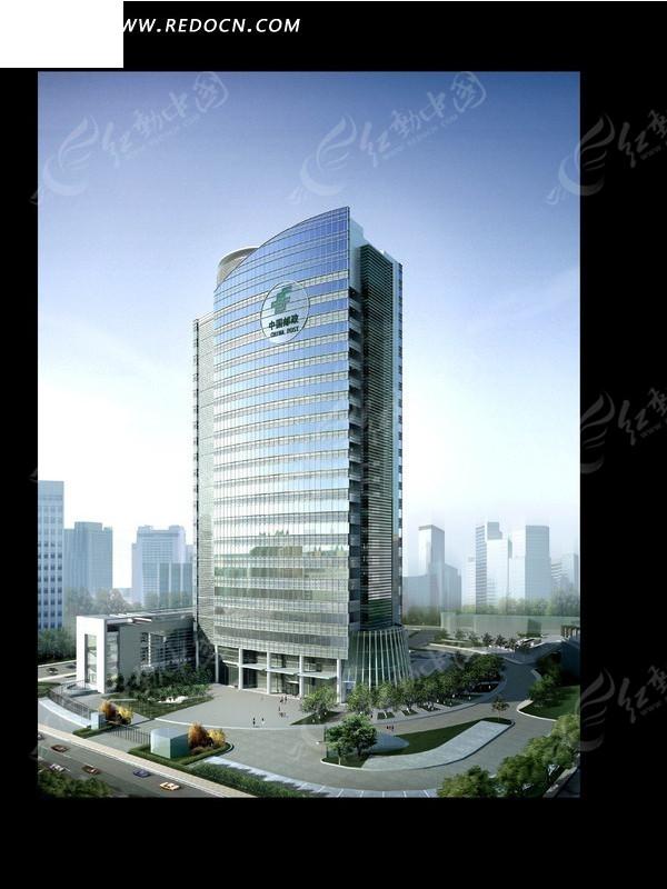 高耸的中国邮政高楼大厦效果图psd素材图片