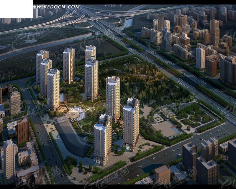 城市规划建设效果图psd素材图片高清图片