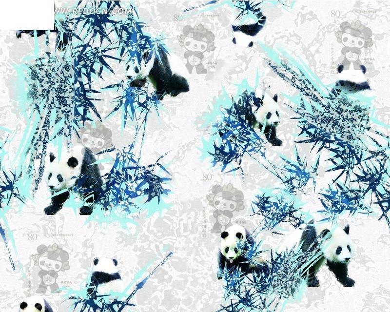 灰色暗纹背景上的熊猫和竹子PSD素材