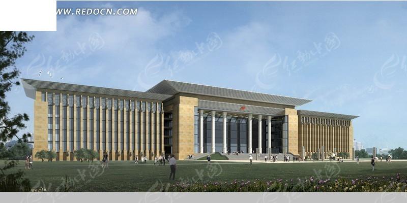 政府大楼设计效果图psd素材图片高清图片