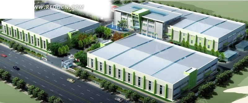 现代厂房建筑群鸟瞰效果图设计3dmax免费下载 建筑模型素材高清图片