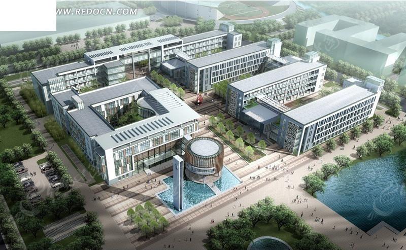 学校建筑群鸟瞰效果图设计图片高清图片