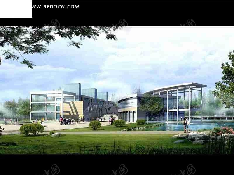 异型艺术风格学校建筑群日景效果图设计图片高清图片