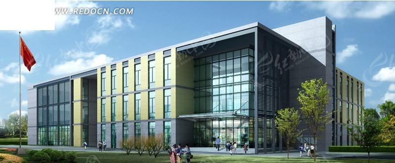 现代学校教学楼日景效果图设计图片高清图片