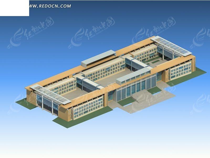 现代学校教学楼建筑群3d模型设计
