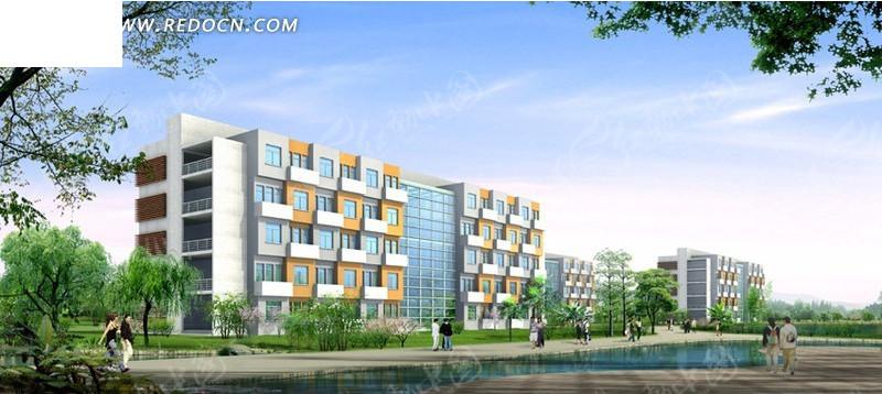 中式学校 建筑群日景 效果图 设计 建筑模型高清图片
