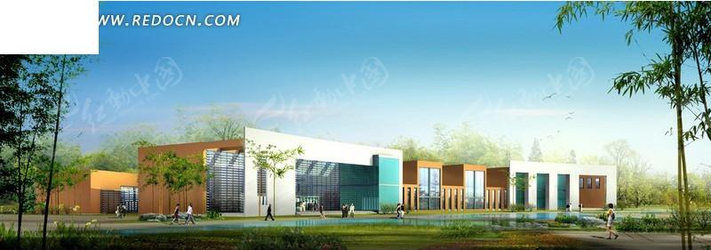 现代学校建筑群日景效果图设计图片高清图片