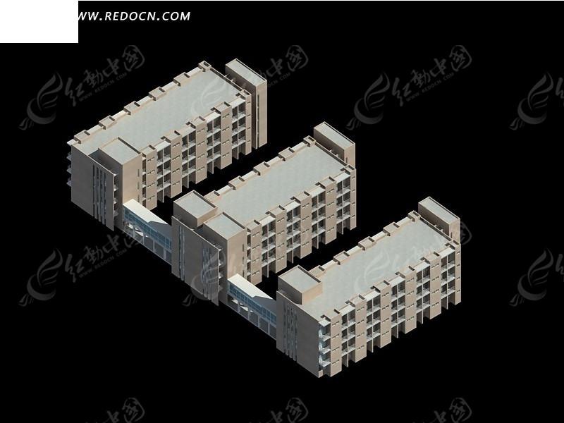 中式学校建筑群3d模型设计图片