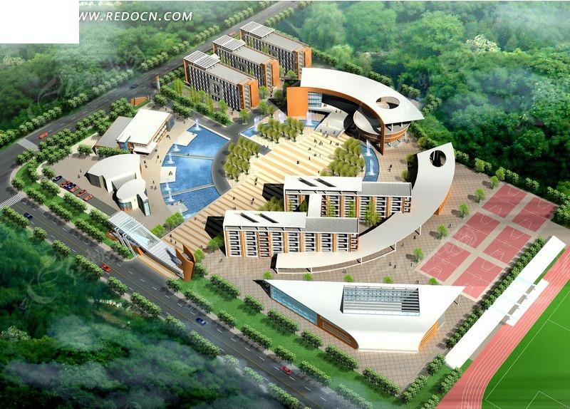 现代学校建筑群鸟瞰效果图设计3dmax免费下载 建筑模型素材高清图片
