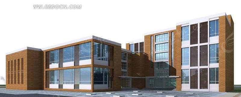 现代学校建筑群3d效果图设计图片高清图片