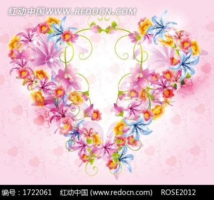 精美黄色粉色蓝色花朵图案