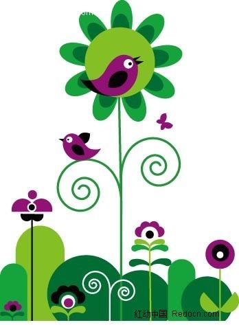 绿色卡通花草植物与紫色小鸟