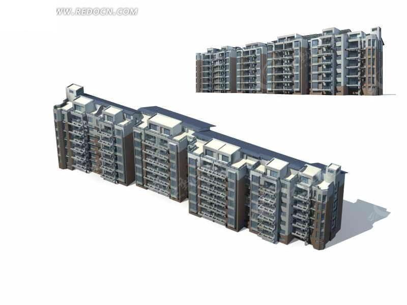 中式多层住宅楼建筑群3d模型