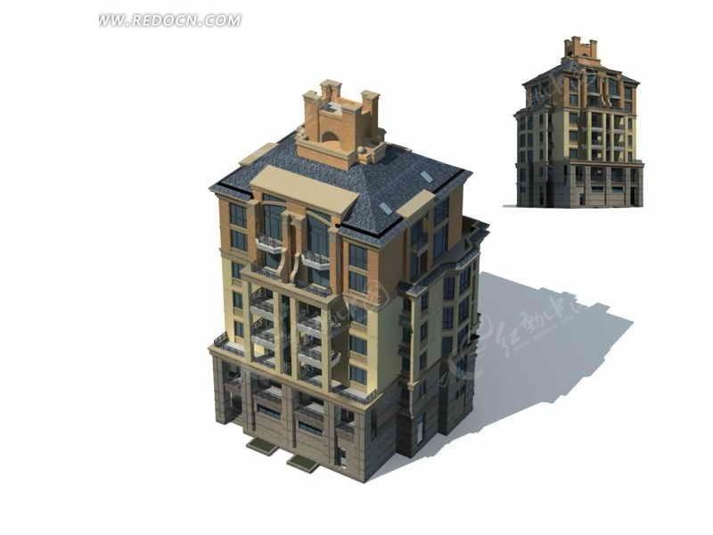 西式多层住宅楼建筑群3d模型