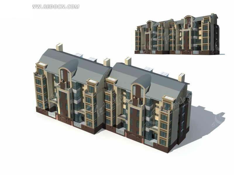 西式多层住宅楼3d模型设计