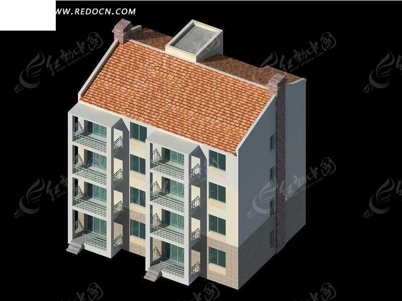 独栋多层住宅区建筑3d模型设计