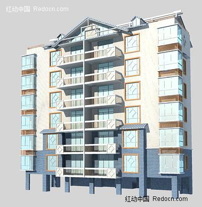 6层欧式小区住宅3d模型图