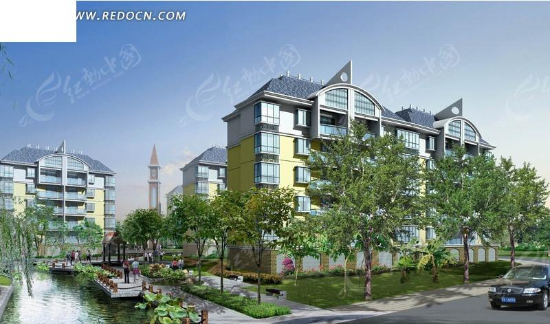 现代化欧式住宅小区建筑群3d效果图