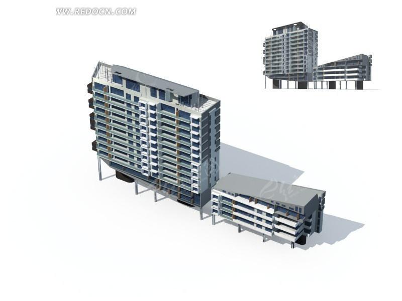 中式顶檐高层住宅3d效果图 高清图片