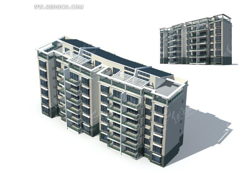 太阳能顶两栋板式住宅楼 两栋太阳能顶板式住宅楼 三联排塔式高层住宅