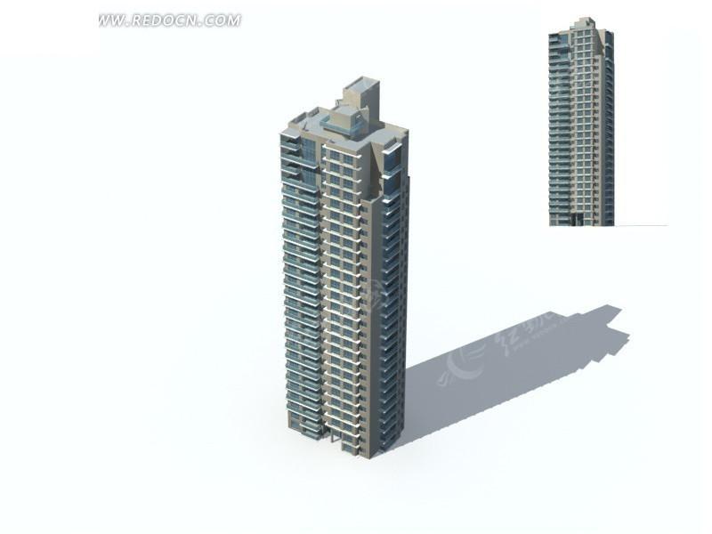塔式高层住宅板式楼建筑3d模型