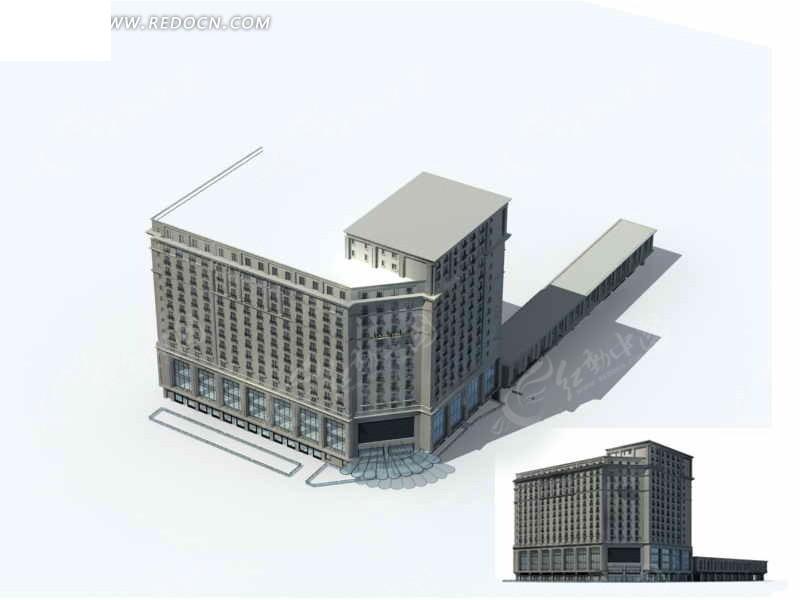 沿街欧式高层商业大厦建筑群3d模型